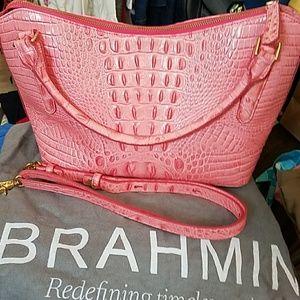 Brahmin,  croc leather , pink bag